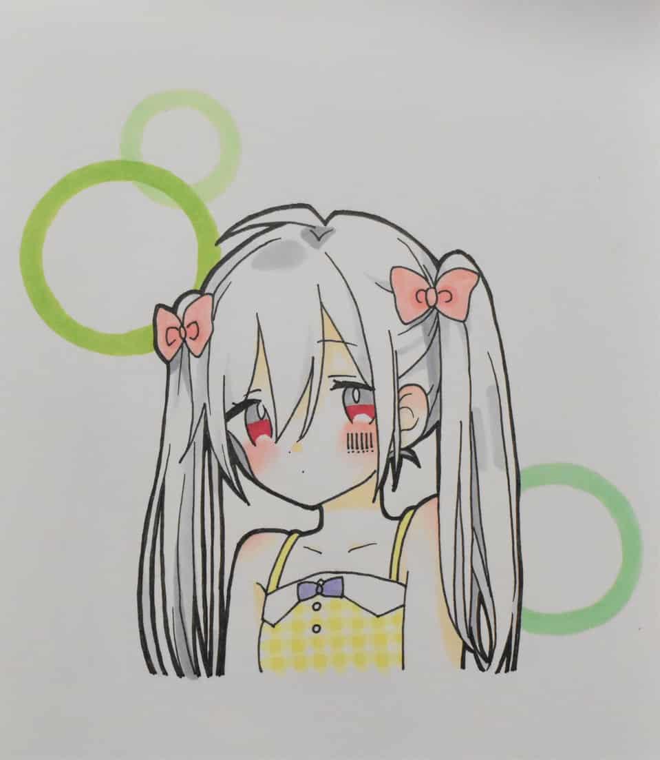 ワンツースリー! Illust of ゆすらうめ portrait アナログ mafumafu kawaii Copic 女の子になりたい pastel