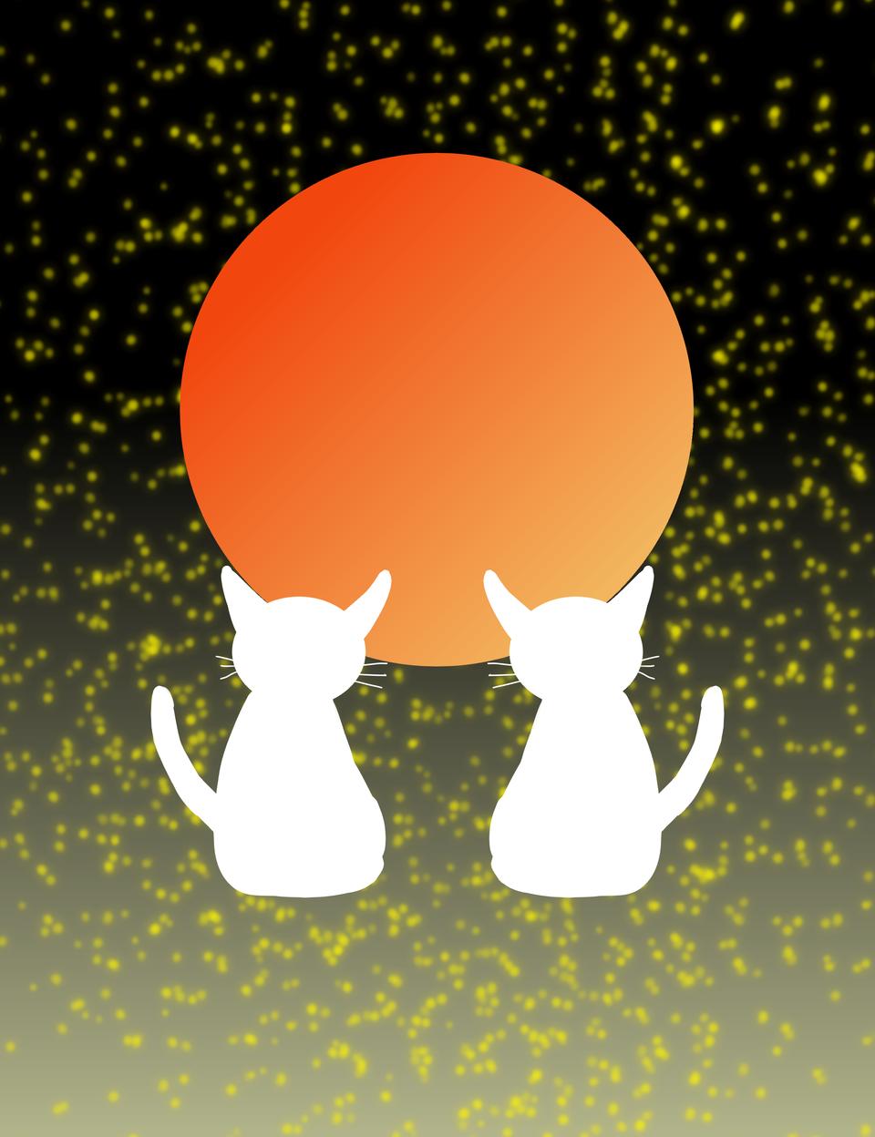 月への願い Illust of sanzame 夜空 cat silhouette キラキラ moon star