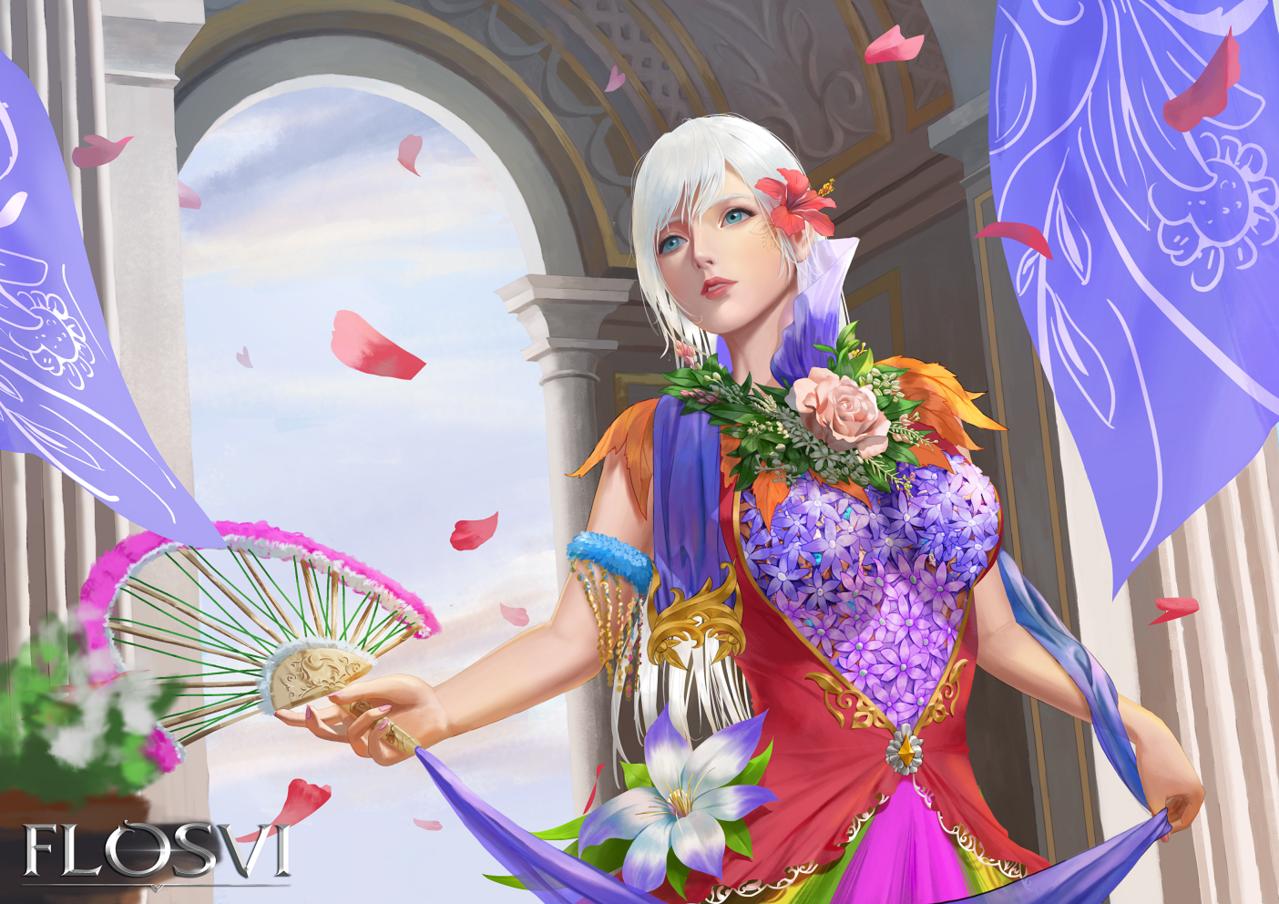 Flower Festival Illust of flosvi fantasy, digital festival, flower, girl, celebration, semirealism,