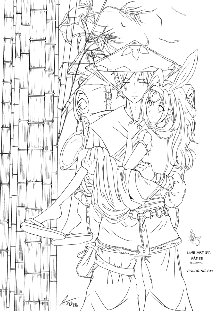 Adventurous Duo Contest #2 Illust of Ƒąժҽҽº× original DIY_contest illustration monochrome medibang manga line_art coloring contest oc