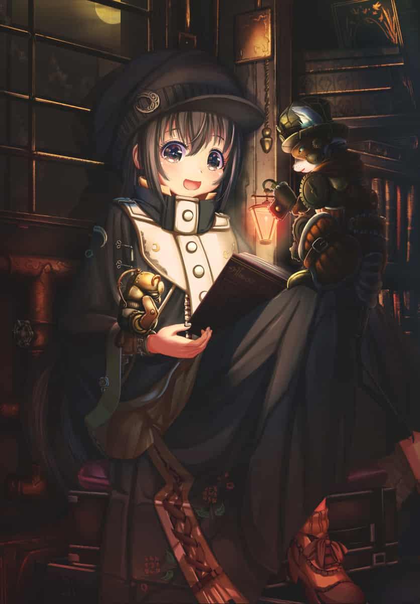 新涼灯下 Illust of あいうあぼ original girl black illustration 読書