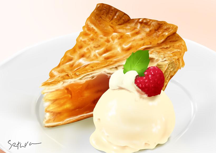 アップルパイ(練習) Illust of せつら 模写 スイーツ #アップ 飯テロ food illustration #アイス cake