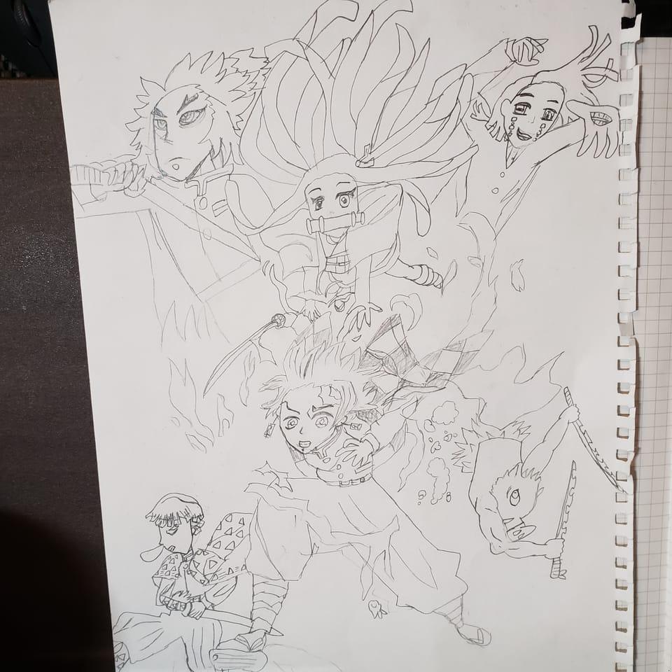鬼滅の刃 模写 下書き Illust of natsu KamadoTanjirou KimetsunoYaiba RengokuKyoujurou AgatsumaZenitsu 魘夢