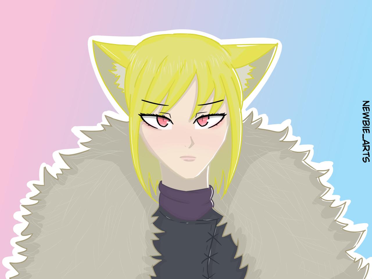 Cat Girl Yuna Illust of Newbie March2021_Creature cat_ears girl anime illustration cute