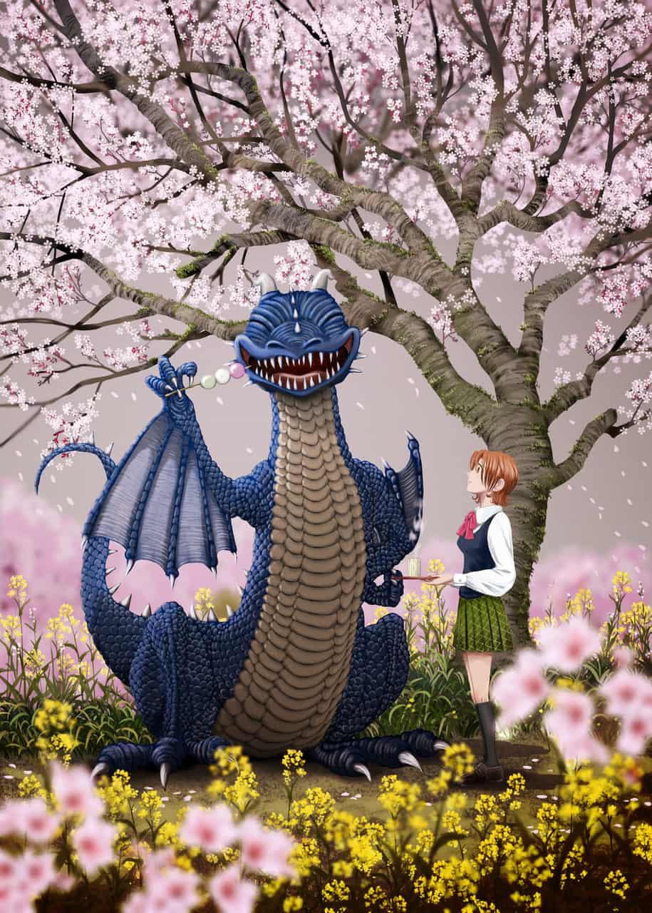 桜よりだんご Illust of onigiri_japan brag.your.country original sakura 花見 scenery dragon だんご