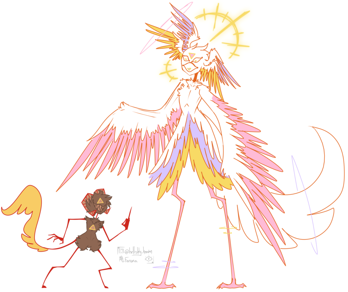 An angel and a demon - Doodle Illust of I have a Sky:CotL brain rot medibangpaint pink lilac angel halo wings demon gold horns yellow