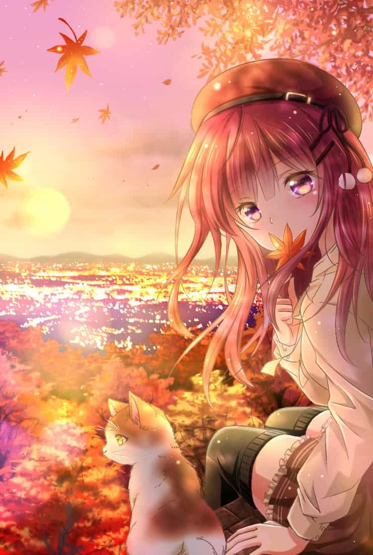 Autumn Illust of うさぎ Sep.2019Contest 紅葉 cat 水面 ベレー帽 girl autumn