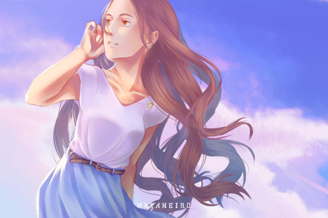 Feels the breeze Illust of Mayaneiro oc girl Originalart pastel sky Pastelsky ロングヘアー