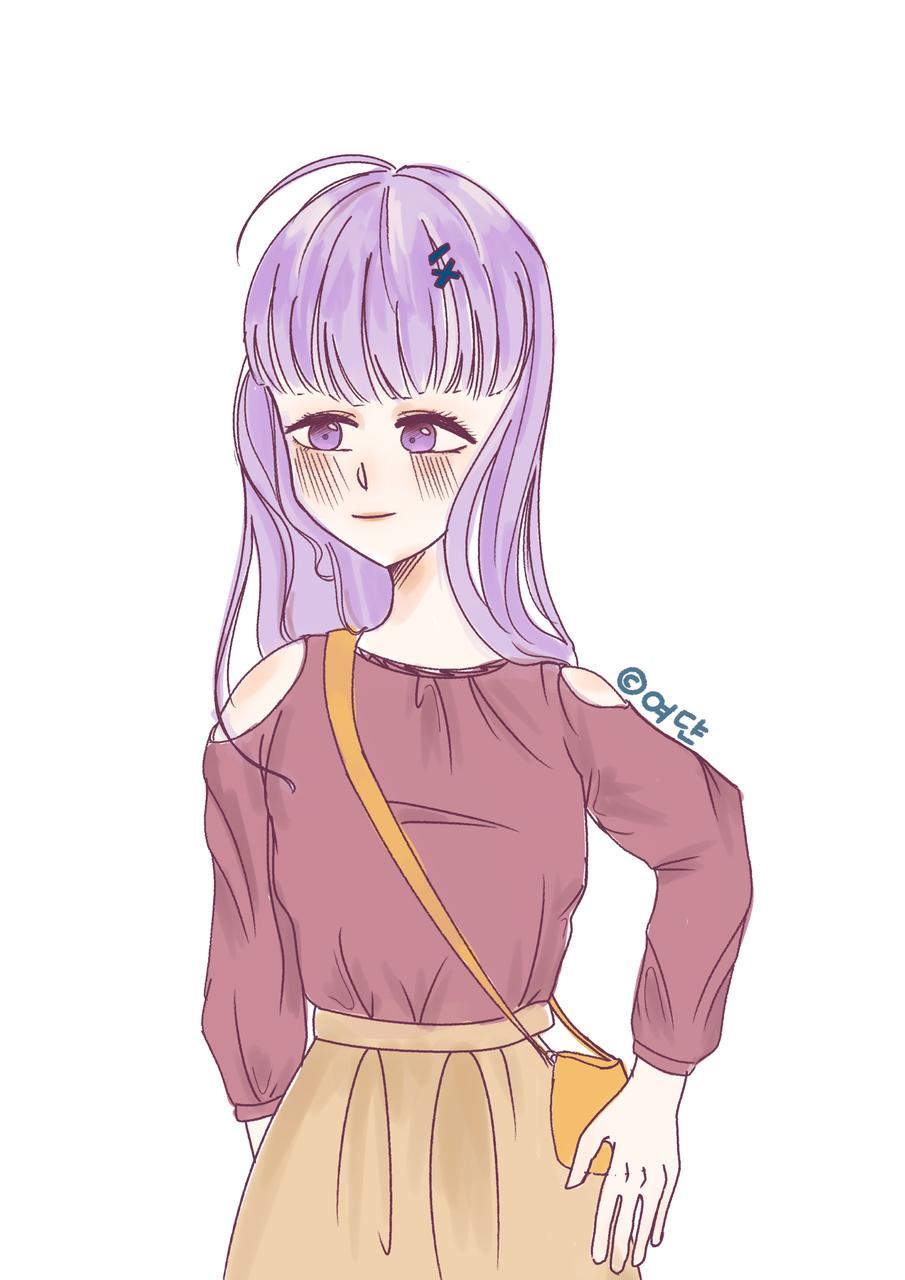 유리구름팀 합작(오너캐에게 중세옷/현대옷 입히기) Illust of 여댠_𝕐𝕖𝕠𝕕𝕪𝕒𝕟𖤐 합작 purple 유리구름팀 self-portrait 여댠