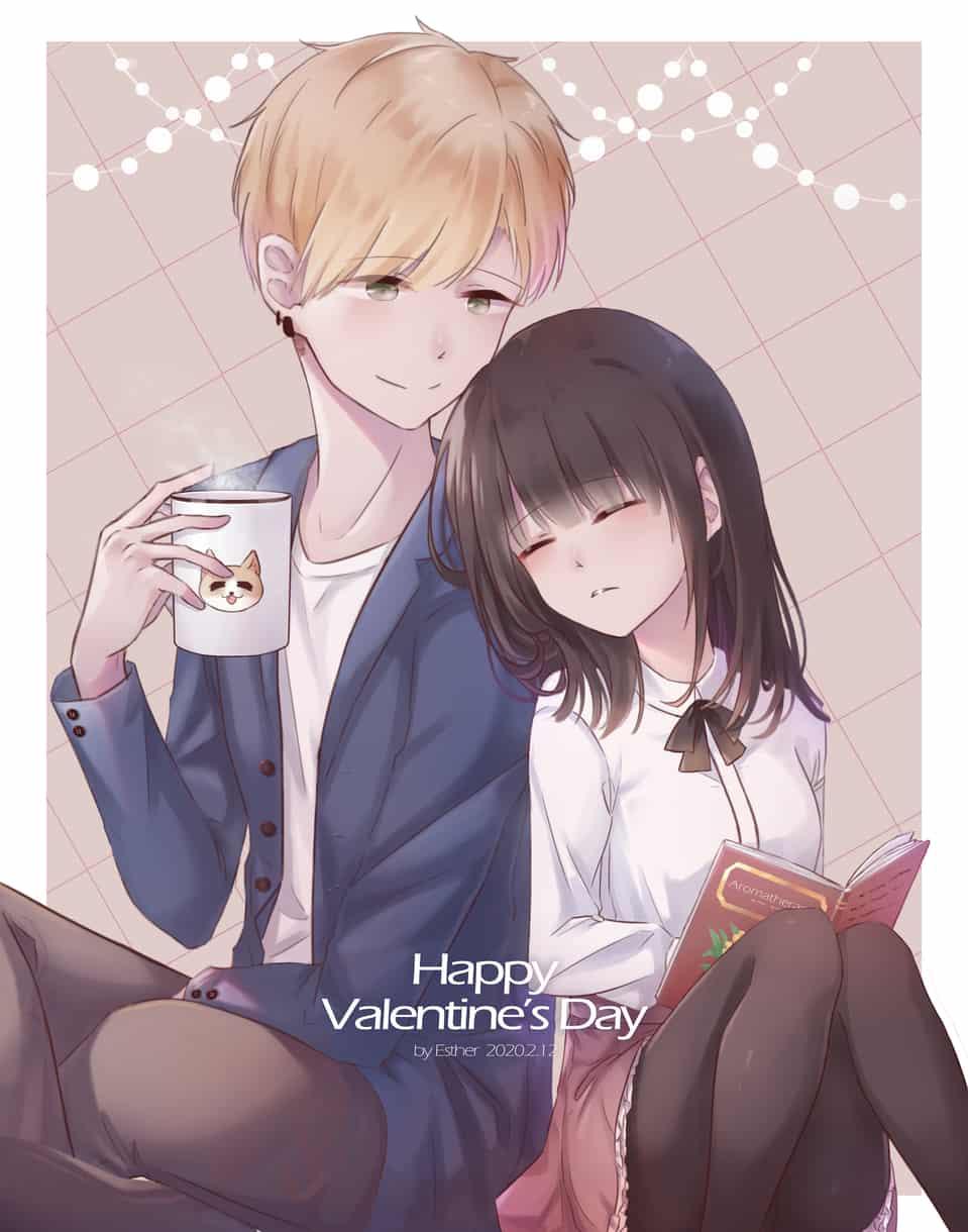 Valentine's Day Illust of Esther Feb2020:VDAY 貓咪 illustration 情人節賀卡 約會 doodle 情人節快樂 情人節賀圖 插畫練習