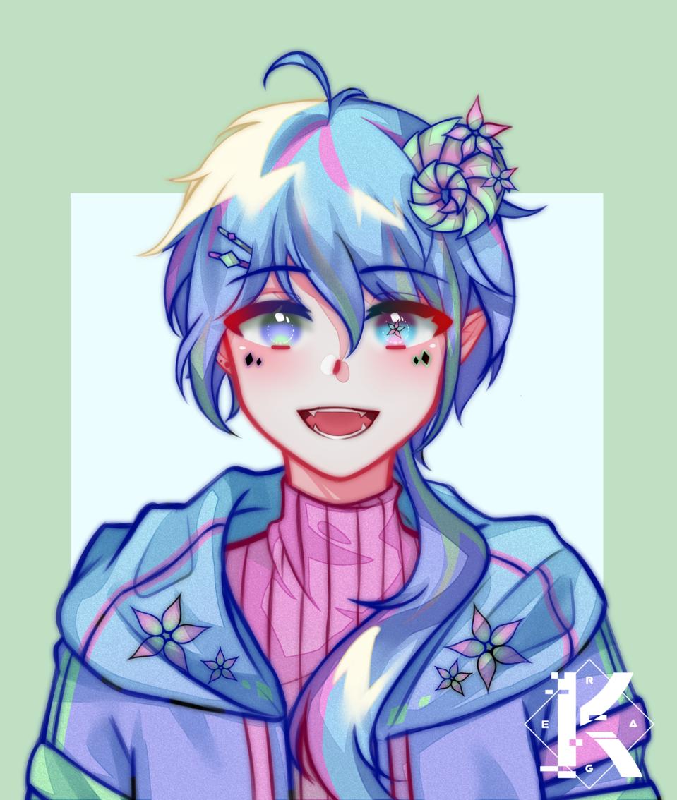 Art Trade - 2 Illust of Kagera medibangpaint bright anime flower kawaii horn pastelcolor cute jacket pastel boy