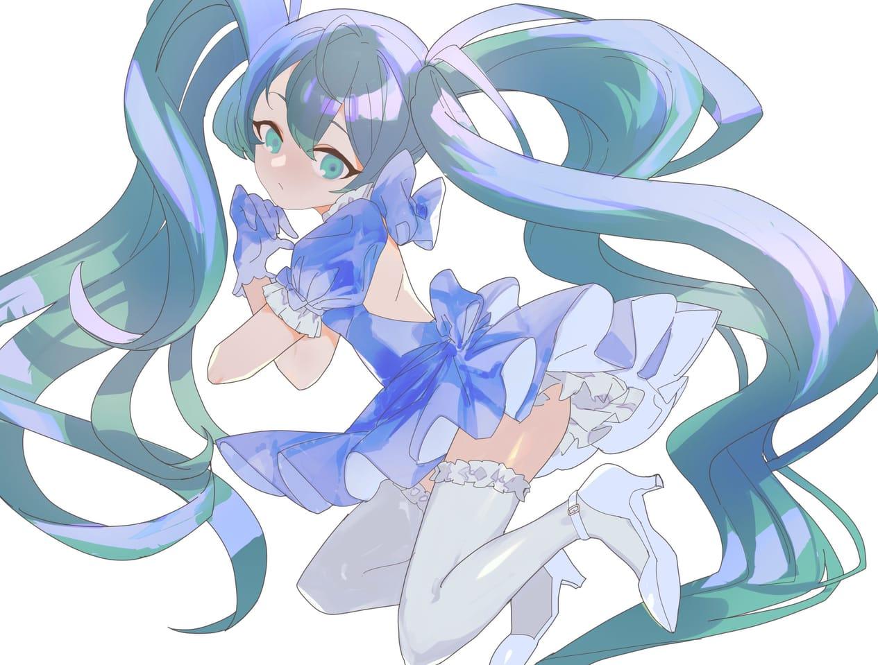 blue blossom Illust of 霜月 September2021_Girl フリル twin_ponytails ワンピース(服) dress girl ribbon
