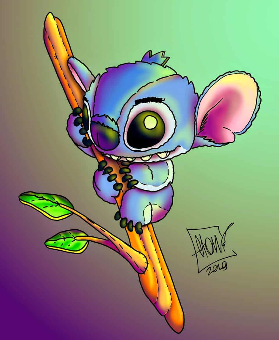Stitch in a bench Illust of Elton furry cute coala Disney cartoon Stitch