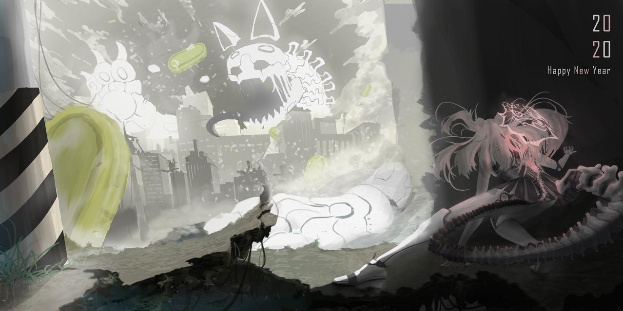 新年試煉 Illust of 好的 Jan.2020Contest 廢墟 monster 廢土世界 老鼠 newyear 貓 機器人