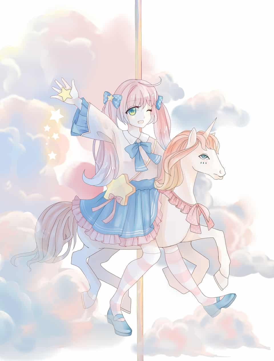 三原色 Illust of 今天 April.2020Contest:Color clouds girl pink