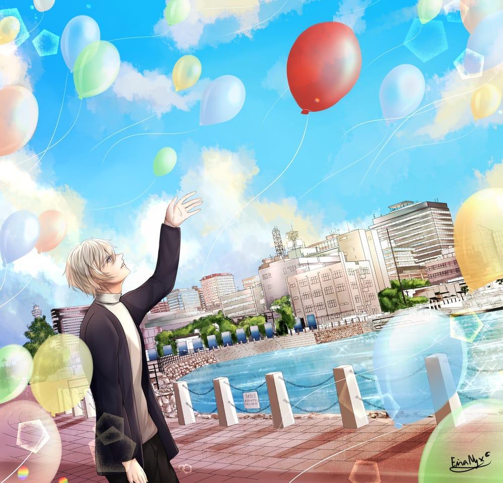 Set it free Illust of EiraNyx Background_Image_Contest BackgroundImageContest_Using_Division balloons boy Colorful