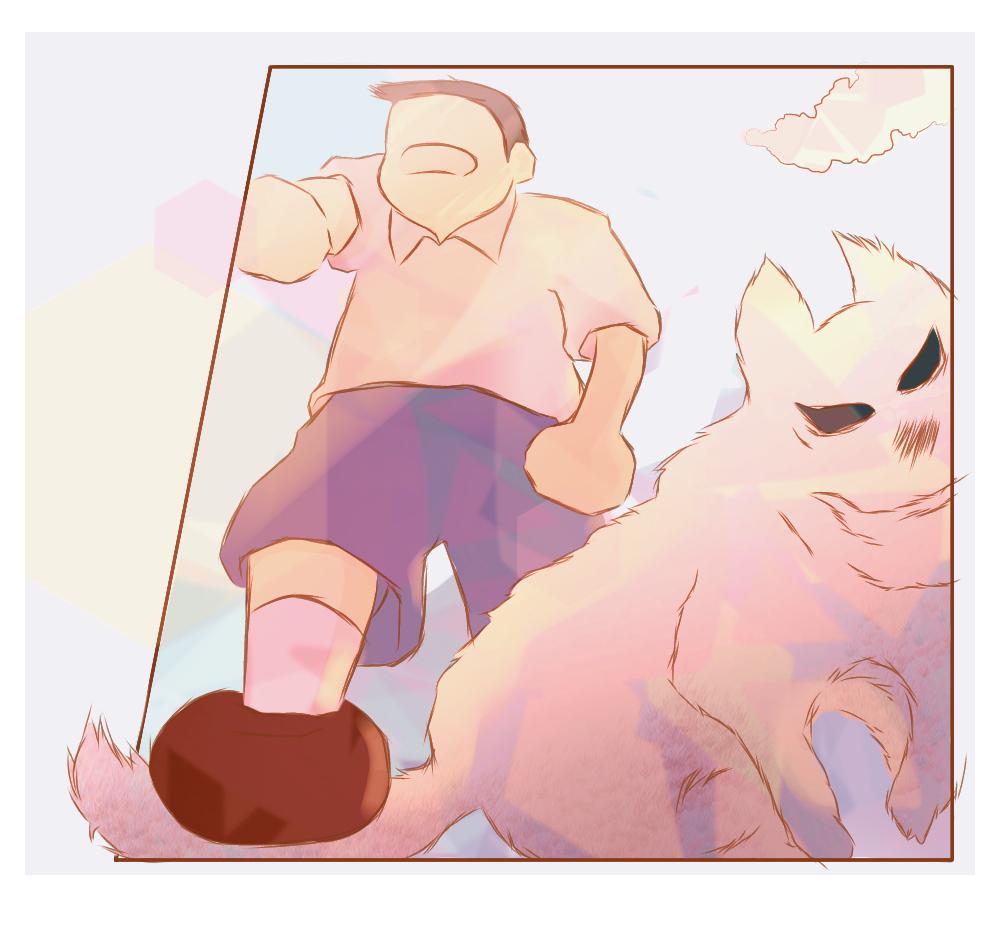 Please forgive me Dog-san ! (1 hr)  Illust of shy_愛生 medibangpaint dog 1hDrawingChallenge digital drawing boy