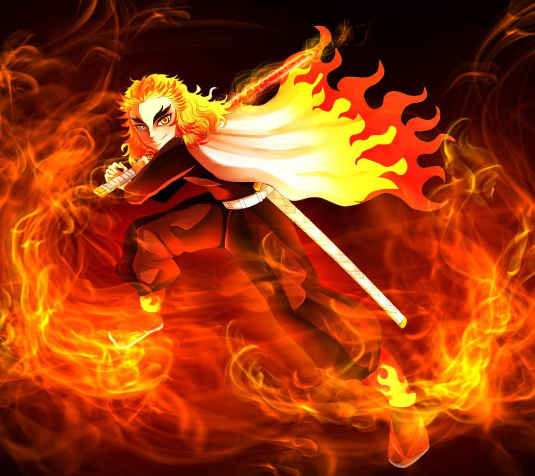 Rengoku Kyoujurou Illust of M40U manga RengokuKyoujurou fanart mangaart katana boy anime KimetsunoYaiba animeboy fire