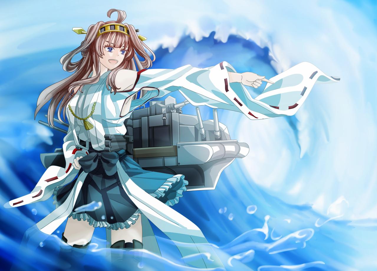 Kongou-Kancolle Illust of Akira Luca water fanart battleship ship KantaiCollection kongou wave