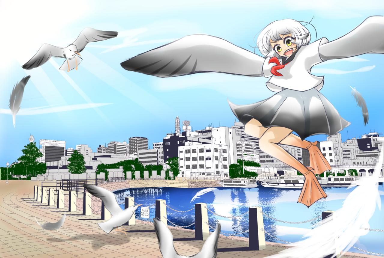 かもめ Illust of うみう Background_Image_Contest BackgroundImageContest_Using_Division
