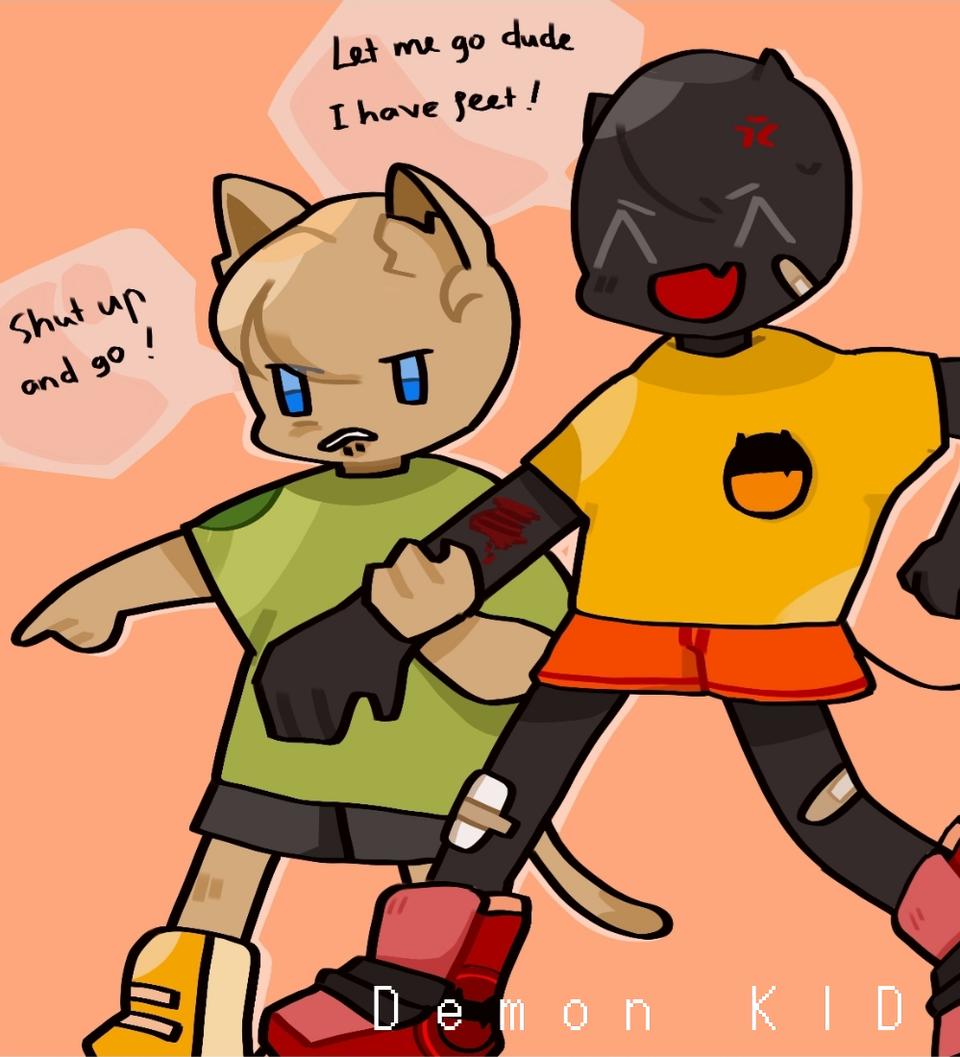 Best Childhood's friend Illust of Demon KID medibangpaint cute demon comicart friend cat MyArt fight