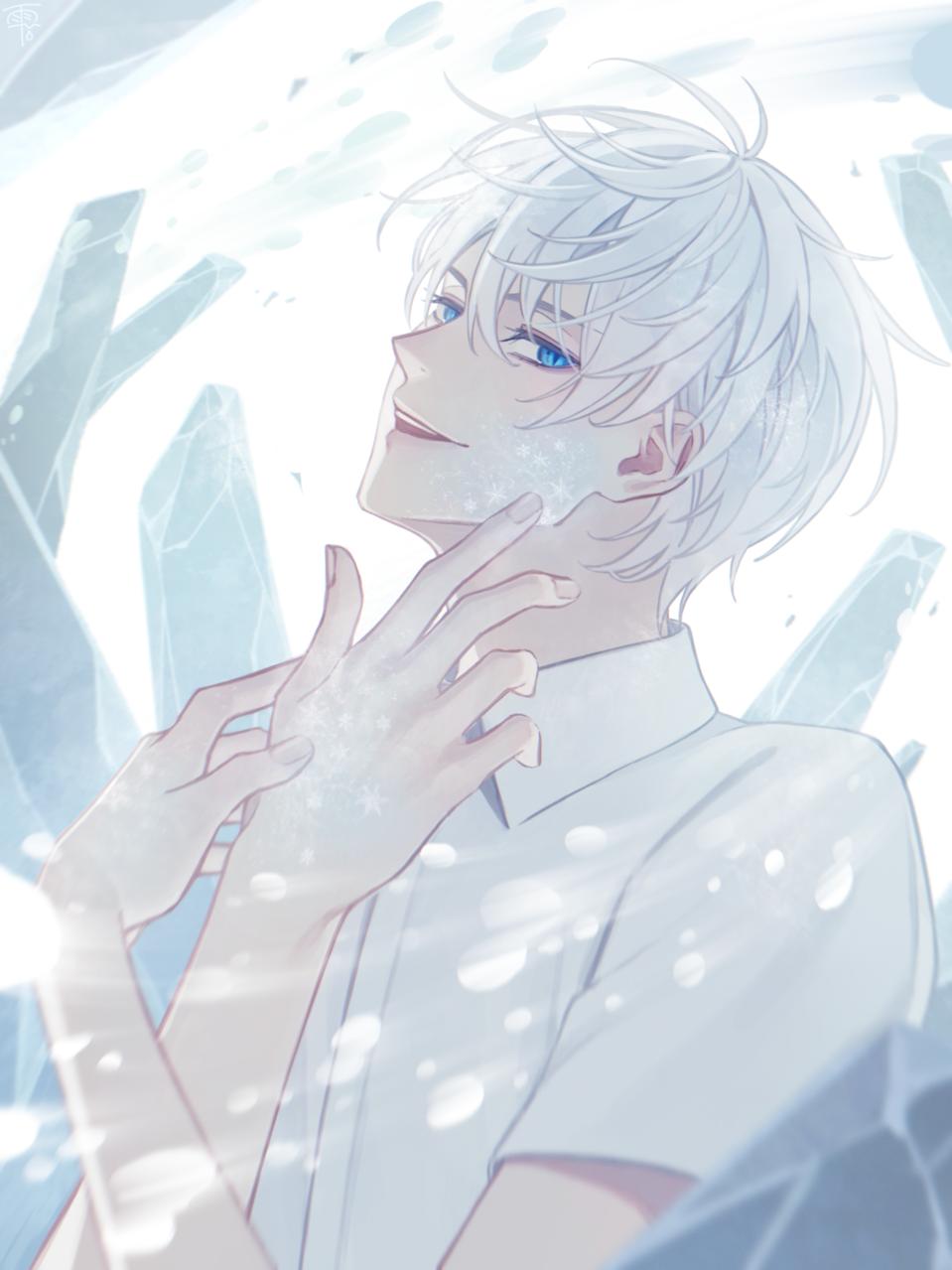 ❄️ Illust of 雨色 雫 sideface boy original white_hair ice