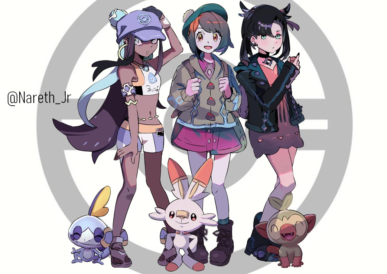 Pokémon-fanart Illust of jrkero medibangpaint ユウリ(ポケモン) PokémonSwordandShield マリィ(ポケモン) pokemon ルリナ(ポケモン)