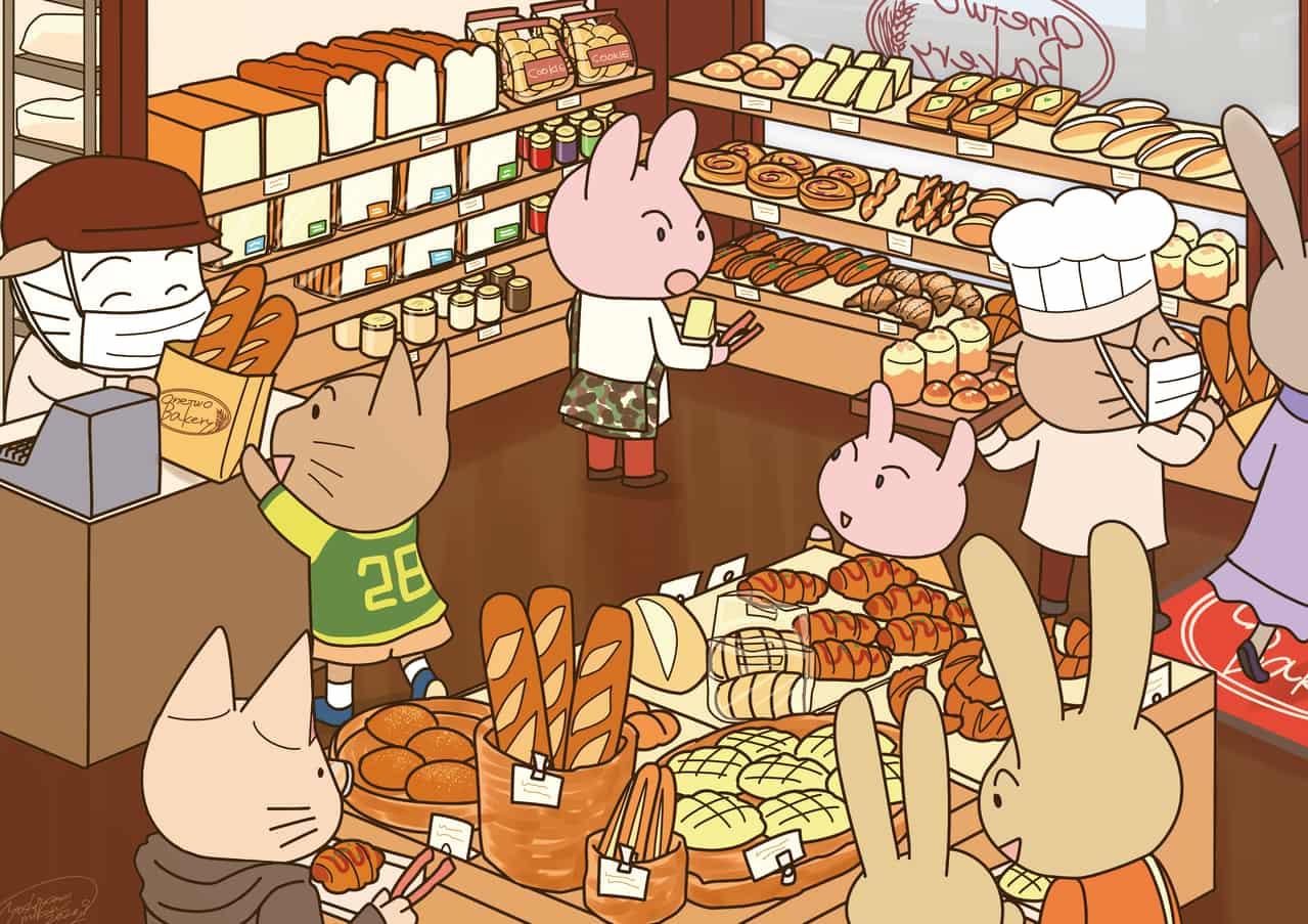 ねこのパン屋さん Illust of 吉山みかん oc rabbit animal パン屋 cat medibangpaint