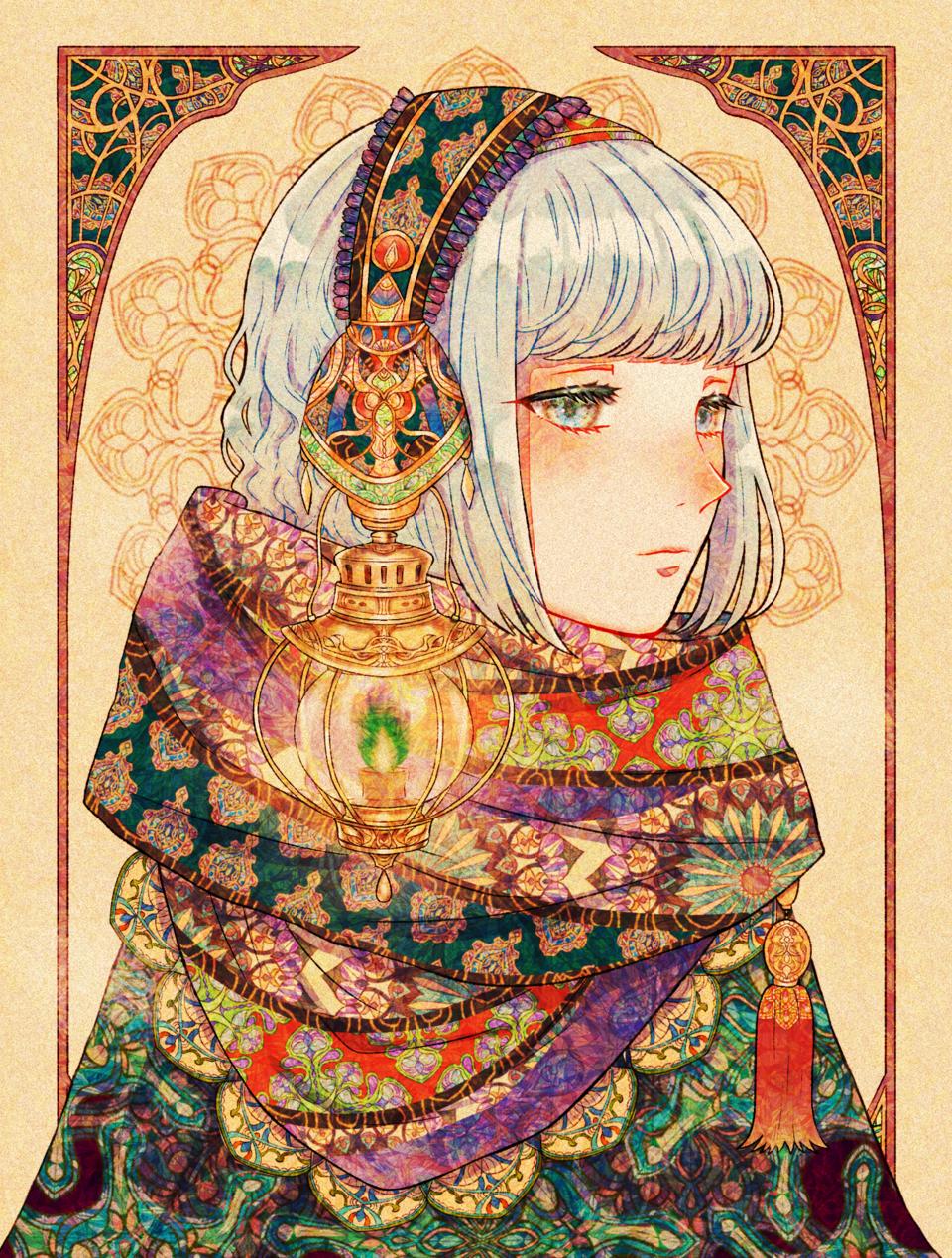 ランタン Illust of ぼたん。 original girl マフラー
