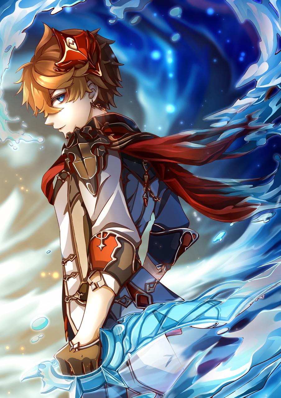 Childe Illust of Akira Luca digital GenshinImpact fanart lighting sword boy illustration childe water cool