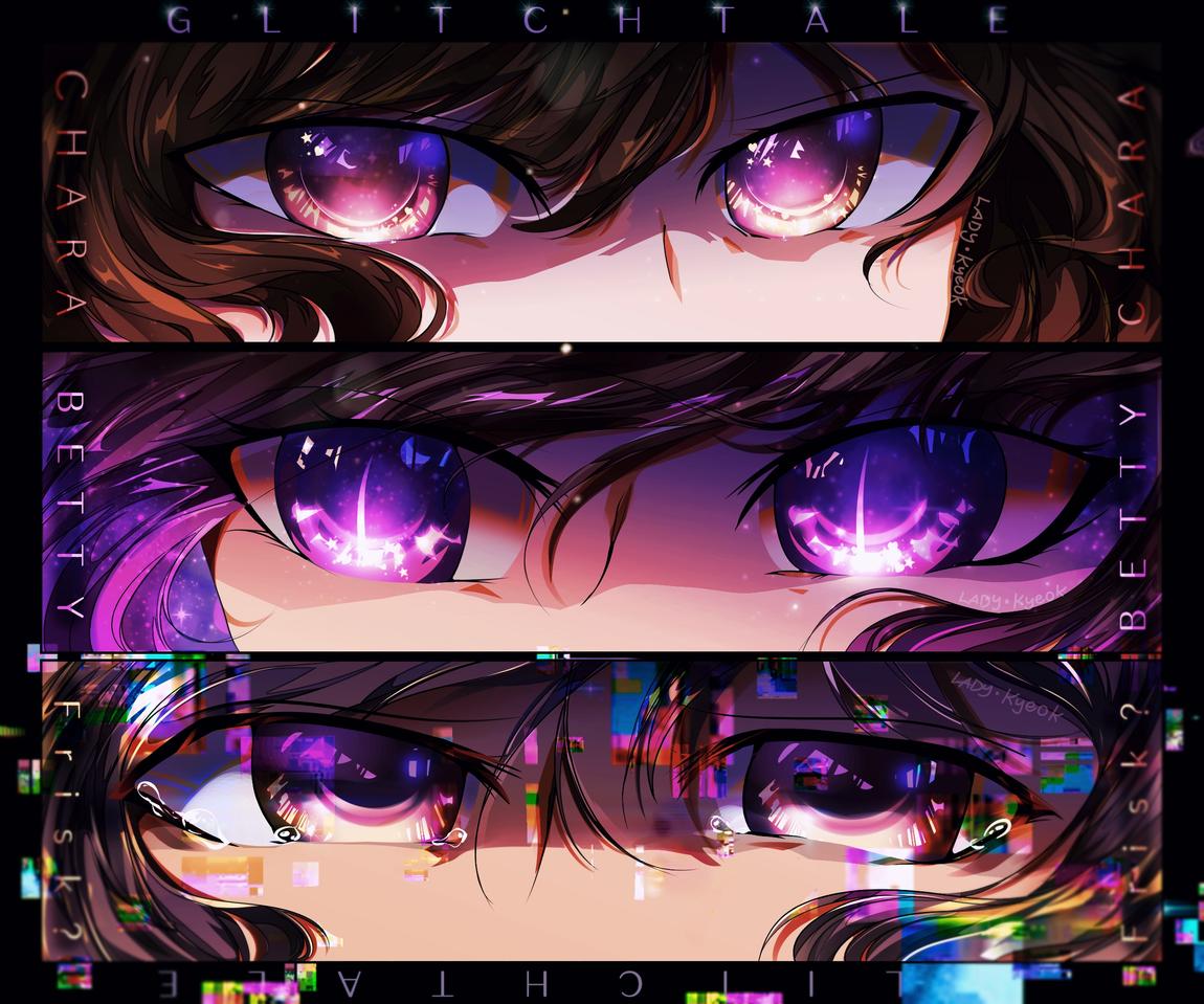 Glitchtale Eyes Illust of Necroneon medibangpaint undertale betty Chara Frisk digital béteNoiré Glitchtale eyes