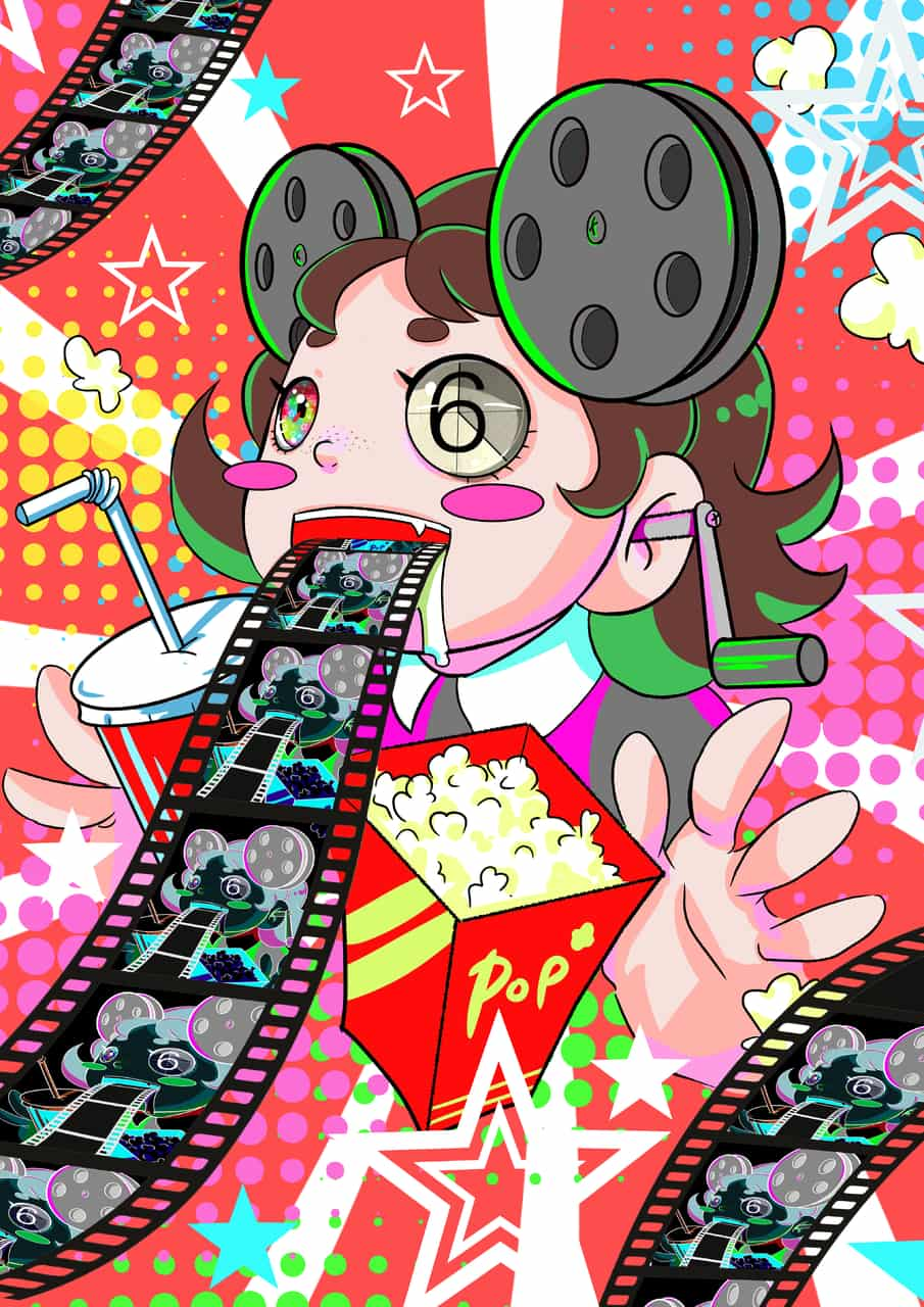 Contando películas Illust of PsychoDelicia April.2020Contest:Color ARTstreet_Ranking chibi girl psychedelic kawaii cute anime movie random color
