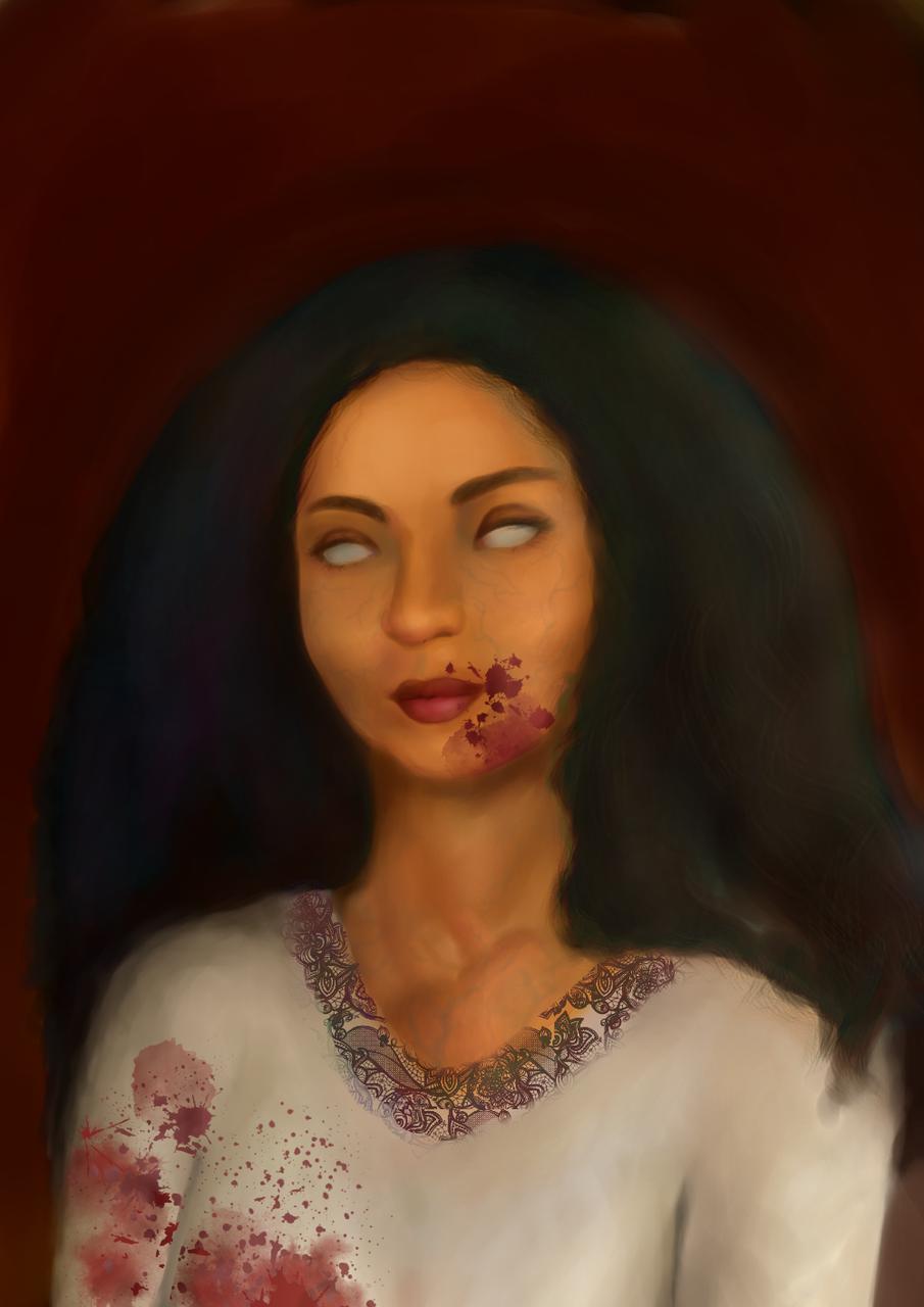 Woman of Taste Illust of CJustMe horror August2020_Contest:Horror blood woman Beautiful contest smile Habesha ethiopian