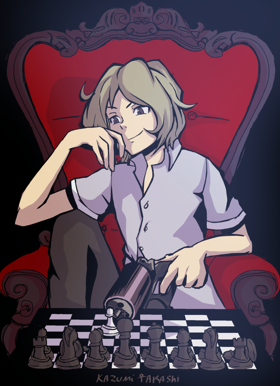 Joshua Illust of かずみたかし chess fanart twewy joshua Gun theworldendswithyou Throne