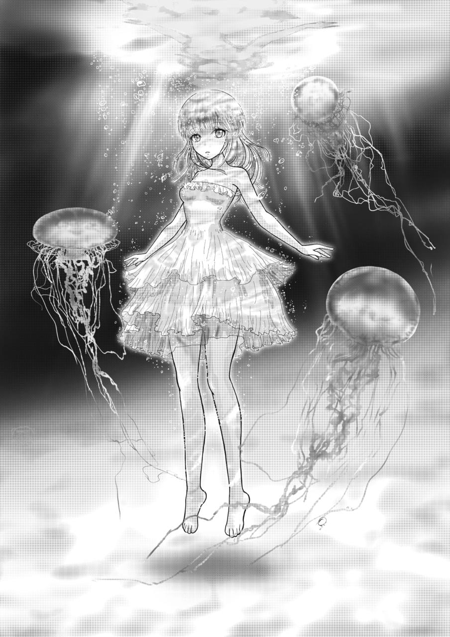 Jellyfish Illust of スローロリス1号 May2021_Monochrome underwater girl monochrome jellyfish dress sea