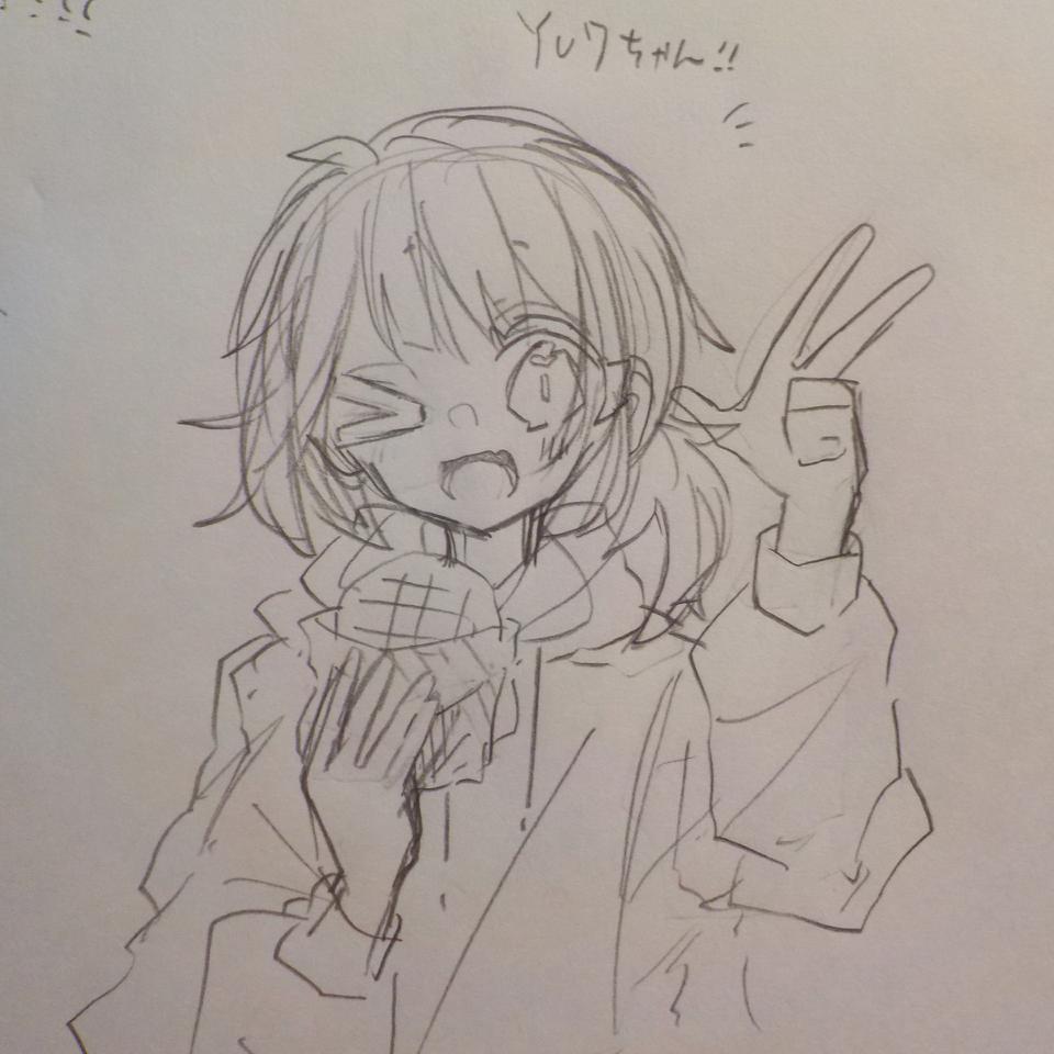 yu7ちゃんのアイコンラフ!!! Illust of めだまやき#中2病 kawaii angel 代理ちゃん アイコン用 アナログ yu7 メロンパン