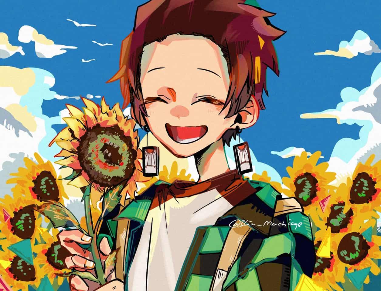 たんじろ Illust of 餅あげ illustration summer KimetsunoYaiba boy sky KamadoTanjirou ひまわり