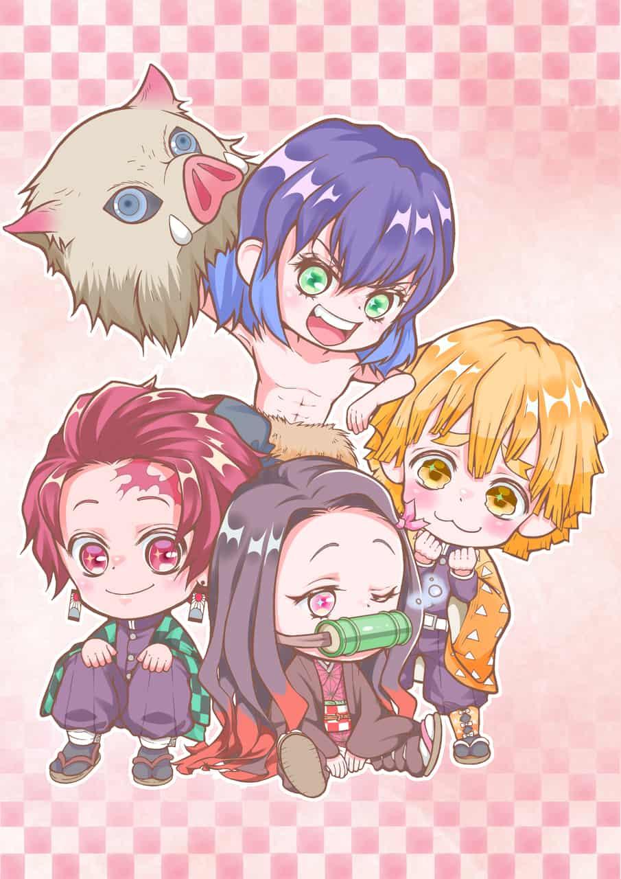 ちびちび4人組 Illust of とのくろ DemonSlayerFanartContest AgatsumaZenitsu chibi HashibiraInosuke KamadoNezuko KimetsunoYaiba KamadoTanjirou