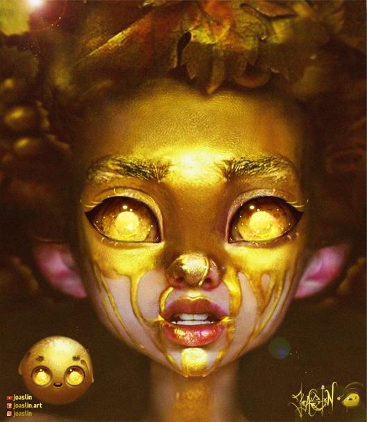 Golden Eyes Illust of JoAsLiN cute joaslin girl eyes realistic digital art gold golden oc