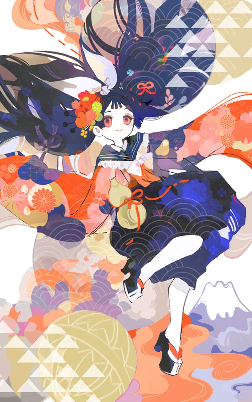 迎春 Illust of ひがしの illustration Japanese_style flower original girl 年賀