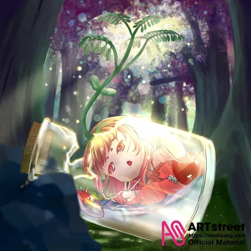 遺落的相思 Illust of 玥辰 tracedrawing Trace&Draw【Official】 玻璃瓶 forest 相思豆 植物