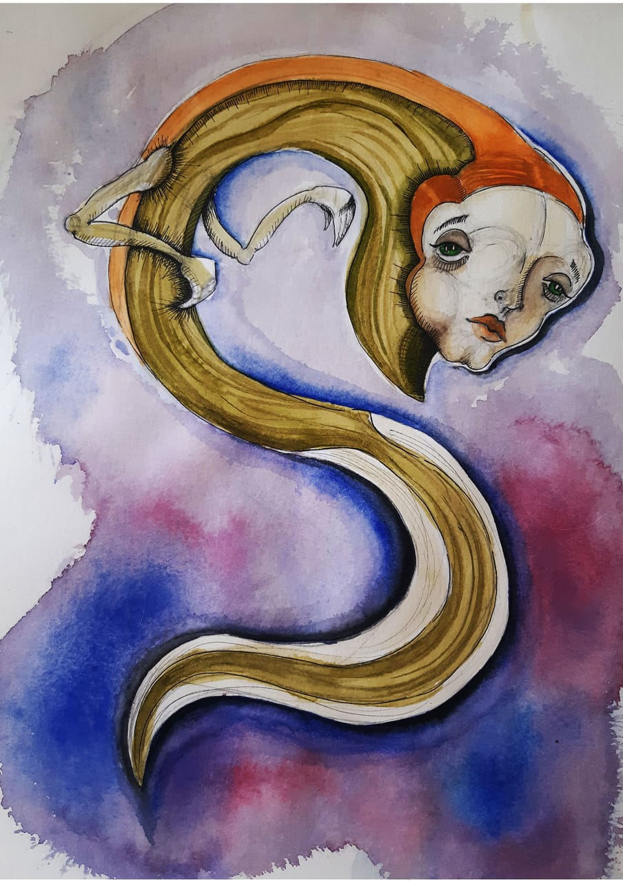 The lost Fish Illust of NiktaKazemi fantasy February2021_Fantasy drawing watercolor illustration surrealism