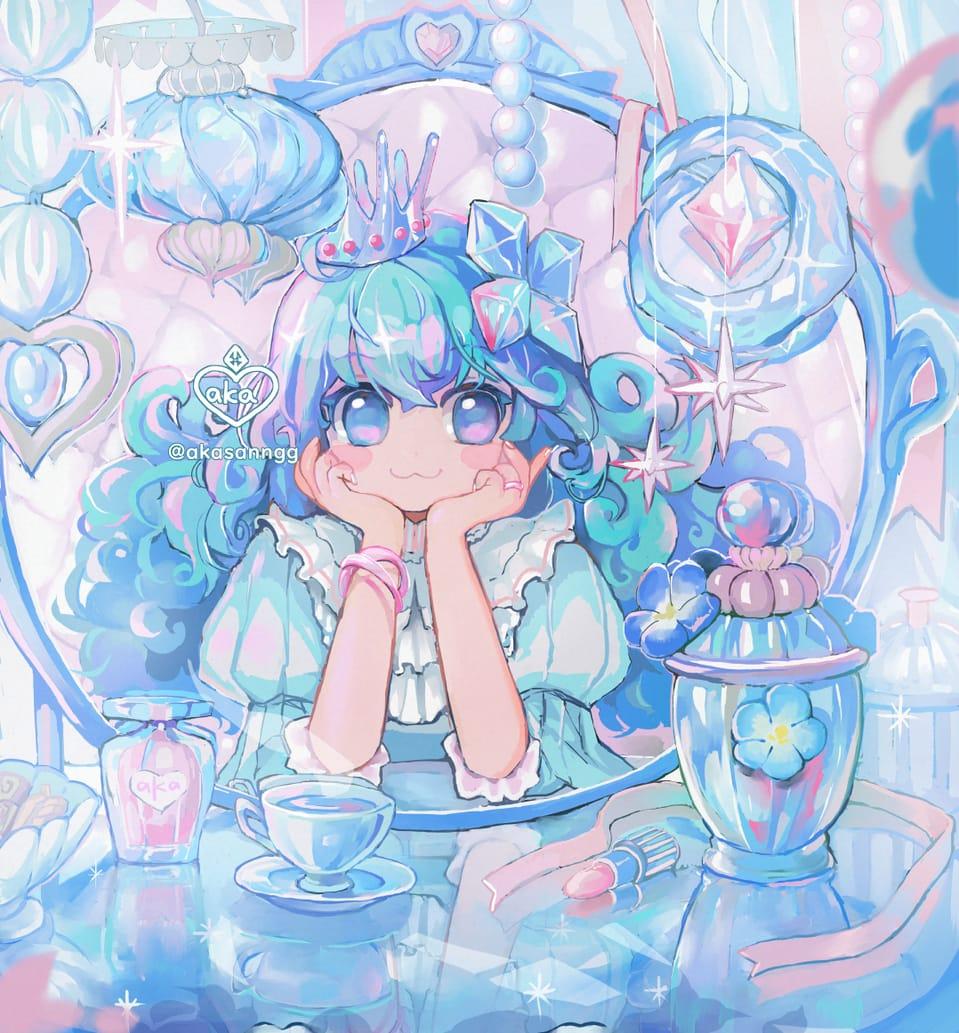 💎PRINCESS💎💎💎 Illust of 飴星朱 aka Amehosi original girl 姫 水色 oc