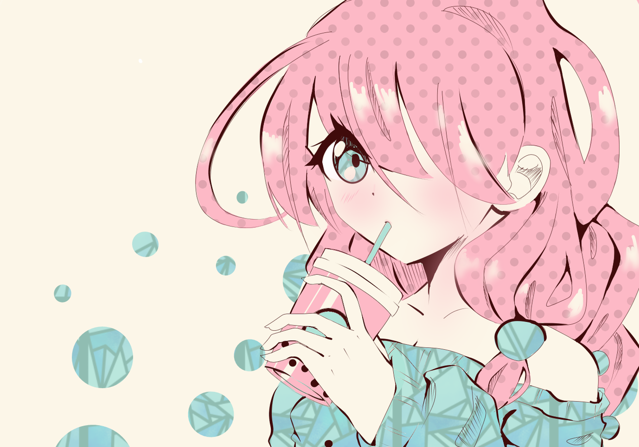 bubble tea Illust of Fari medibangpaint oc pink bubbletea pastel teal