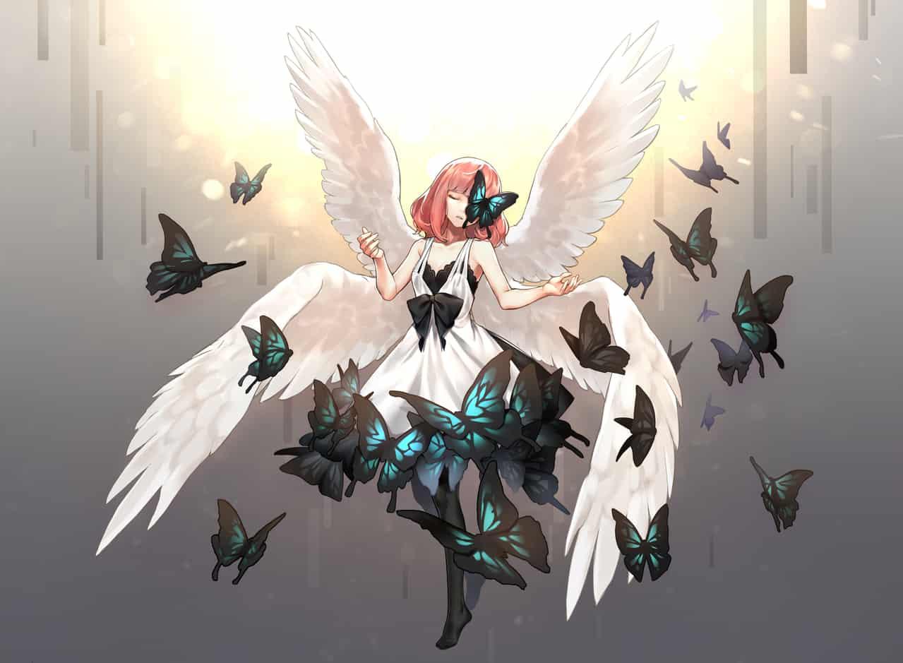羅夏之蝶 Illust of Tarantulaines wings girl 羅夏之蝶 pinkhair butterfly 羽彌 永遠的七日之都