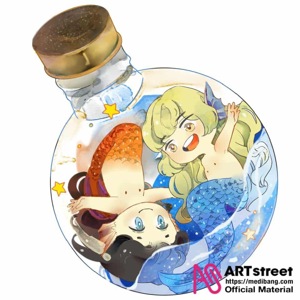 Lantern and Mermaid Illust of 元丛丛 tracedrawing 人鱼 Trace&Draw【Official】
