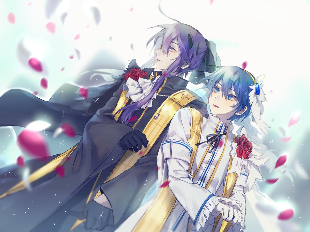 Innocent flower Illust of AKSO VanaN'Ice KAITO ボカロイド 神威がくぽ バナナイス