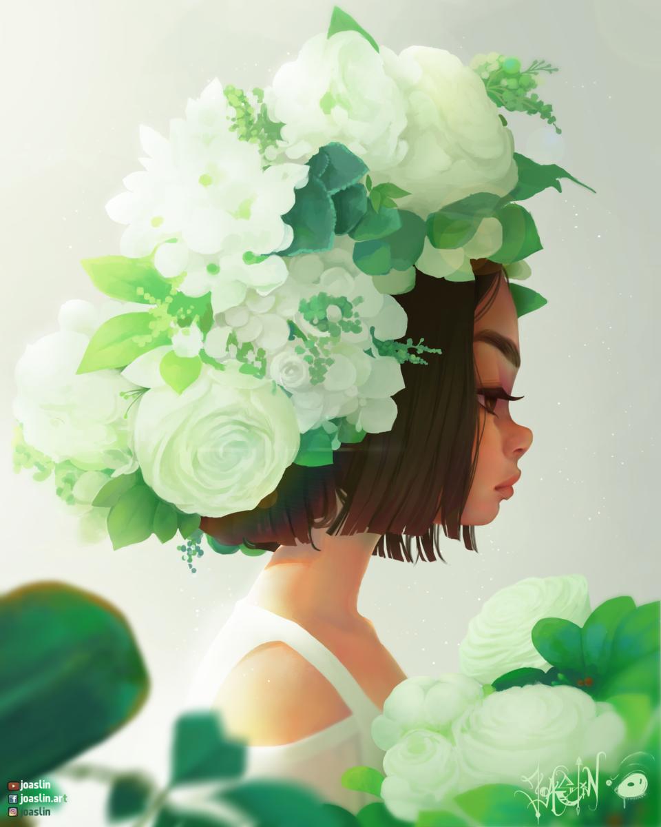 🌱💚 Spring 💚🌱 Illust of JoAsLiN ARTstreet_Ranking art spring girl flowers oc original illustration eyes green cute