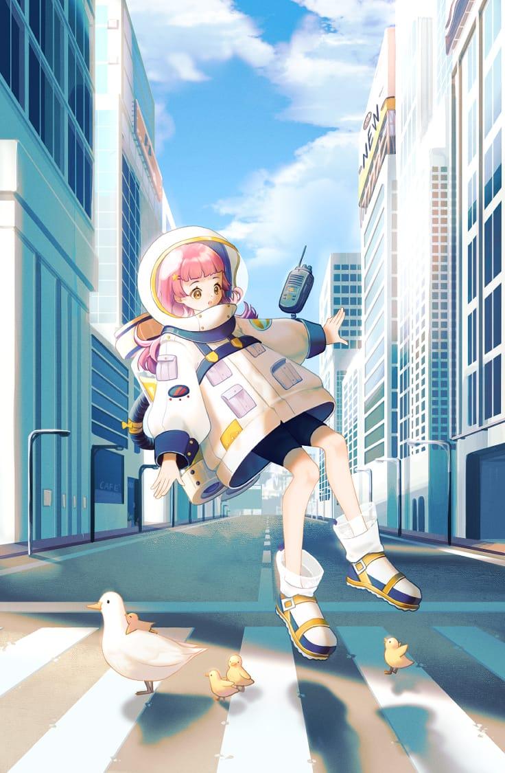 Astronaut Illust of 微米 illustration oc