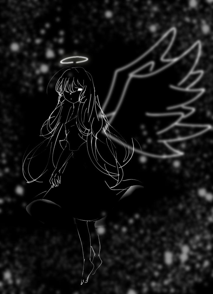 てんし Illust of 。いと。 レッツワンドロ blackandwhite angel monochrome digital アイビスペイント
